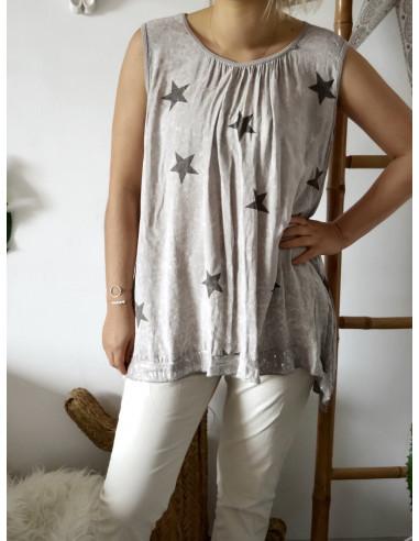 Débardeur femme long motif étoile grande taille taupe sequins coton