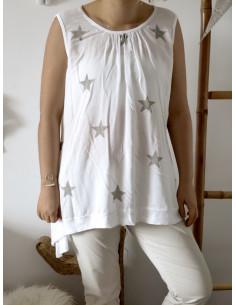 Débardeur SAM étoiles et sequins - Blanc