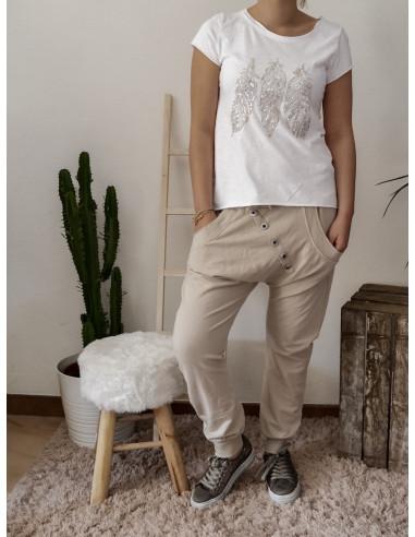 Pantalon de jogging pour femme en coton BEIGE coupe sarouel avec bouton survêtement chic made in italy