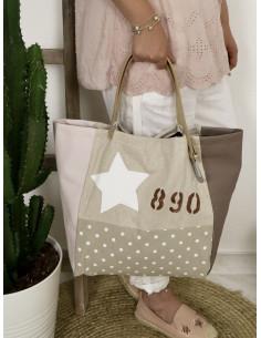 """Sac cabas """"STAR"""" étoile, lettre N&L et numéro - Lin pailleté, toile beige pois et simili cuir rose et marron"""