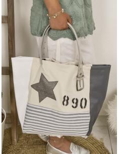 """Sac cabas """"STAR"""" étoile, lettre N&L et numéro - Coton, toile rayé marinière et simili cuir blanc et gris"""