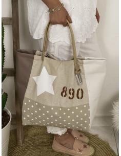 """Sac cabas """"STAR"""" étoile, lettre N&L et numéro - Lin pailleté, toile beige pois et simili blanc et marron"""