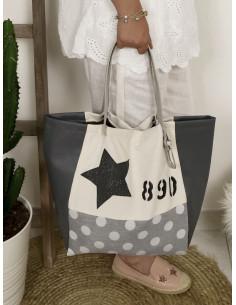 """Sac cabas """"STAR"""" étoile, lettre N&L et numéro - Toile coton blanche, tissu gros pois et simili cuir gris"""