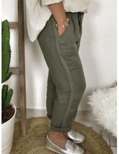 Pantalon femme 100 % lin bande latérale - Kaki