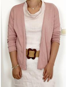 Gilet femme en maille de coton - Rose pale poudré