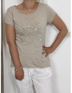 Tee shirt PLUMES SEQUINS en coton - Beige