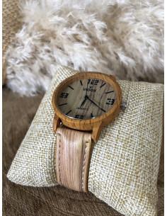 Montre femme bracelet et cadran imprimé bois modèle marron
