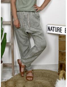 Pantalon femme 100 % lin lin coupe sarouel fludie - kaki