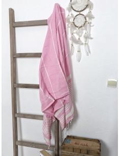 Fouta plage 100 % coton rayé rose