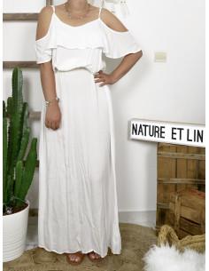 Robe longue boheme chic blanche en coton fluide