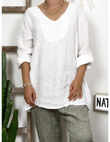 Tunique femme en lin made in italy blanche matière naturelle lin blanc