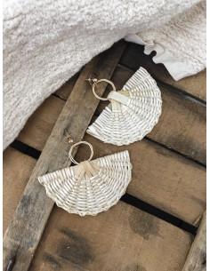 Boucles d'oreilles pendantes demi lune en osier tréssé